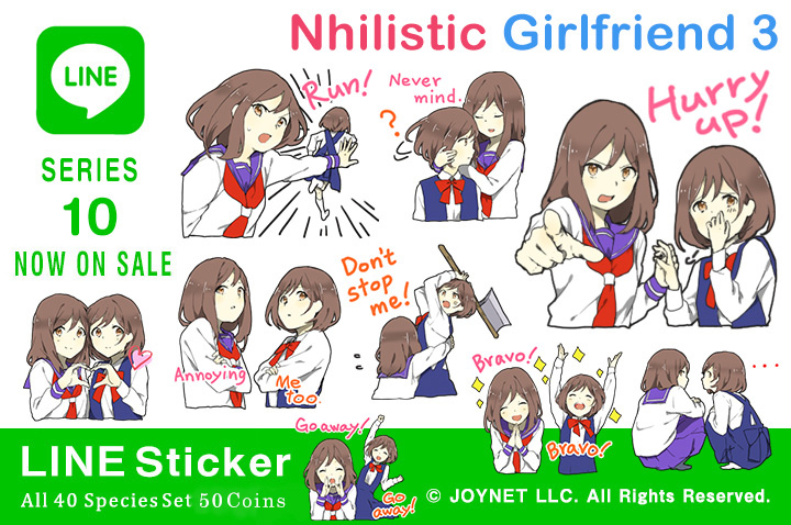 "Now on sale!! LINE Sticker ""Nhilistic Girlfriend 3 EN"""