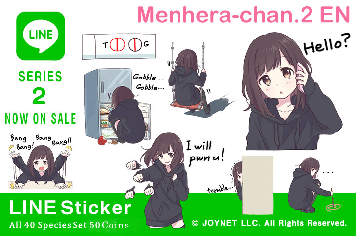 "Now on sale!! LINE Sticker ""Menhera-chan. 2 EN"""