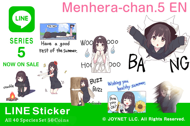 "Now on sale!! LINE Sticker ""Menhera-chan.5 EN"""